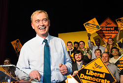 Islington Assembly Hall, London, July 16th 2015. The Liberal Democrats announce their new leader Tim Farron MP who was elected by party members in a vote against Norman Lamb MP. PICTURED: New Liberal Democrat leader Tim Faron addresses with his victory speech vowing to rebuild the party, Islington Assembly Hall.