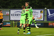 Forest Green Rovers Dan Wishart(17) scores a goal 1-0 and celebrates with Forest Green Rovers Charlie Cooper(15) during the EFL Trophy match between Forest Green Rovers and Newport County at the New Lawn, Forest Green, United Kingdom on 29 August 2017. Photo by Shane Healey.