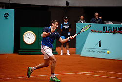 May 8, 2019 - Madrid, Spain - Guido Pella (ARG) in his match against Stan Wawrinka (SUI) during day five of the Mutua Madrid Open at La Caja Magica in Madrid on 8th May, 2019. (Credit Image: © Juan Carlos Lucas/NurPhoto via ZUMA Press)