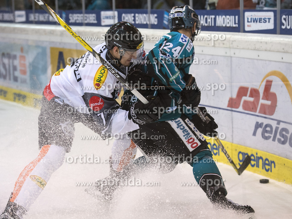 01.12.2016, Keine Sorgen Eisarena, Linz, AUT, EBEL, EHC Liwest Black Wings Linz vs Dornbirner Eishockey Club, 25. Runde, im Bild Curtis Loik (EHC Liwest Black Wings Linz) und Corin Konradsheim (Dornbirner Eishockey Club) // during the Erste Bank Icehockey League 25th round match between EHC Liwest Black Wings Linz and Dornbirner Eishockey Club at the Keine Sorgen Icearena, Linz, Austria on 2016/12/01. EXPA Pictures © 2016, PhotoCredit: EXPA/ Reinhard Eisenbauer