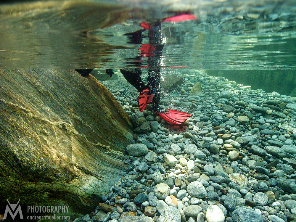 Underwaterphotography, Verzasca River, Ticino, Switzerland Mountain river scuba diving. Crystal clear fresh water experience. - Spectacular lighting conditions.