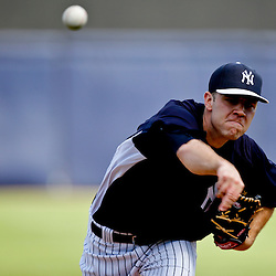 Feb 28, 2013; Tampa, FL, USA; New York Yankees pitcher David Phelps throws against the Toronto Blue Jays during the top of the first inning of a spring training game at George Steinbrenner Field. Mandatory Credit: Derick E. Hingle-USA TODAY Sports