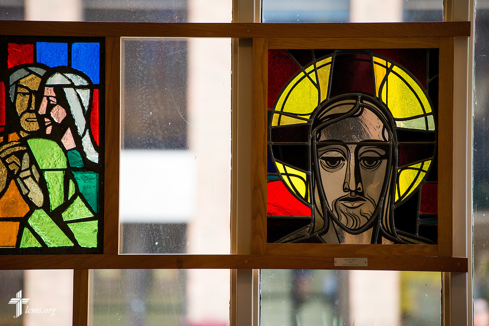 Stained glass adorns the windows at the Service of Praise Commemorating the Sesquicentennial of Concordia University Chicago, in the Chapel of Our Lord on the university campus in River Forest, Ill., on Sunday, Oct. 12, 2014. LCMS Communications/Erik M. Lunsford