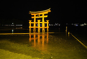Japan, Miyajima, Itsukushima Temple The floating Gate at night