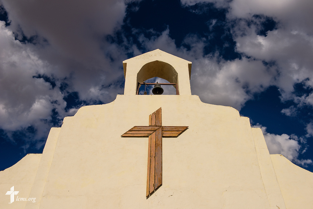 Strong light highlights the cross on San Pablo Lutheran Church on Friday, May 20, 2016, at Ysleta Lutheran Mission Human Care in El Paso, Texas. LCMS Communications/Erik M. Lunsford