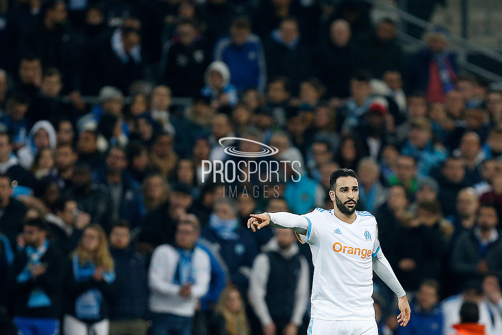 Olympique de Marseille's French defender Adil Rami gestures during the French Championship Ligue 1 football match between Olympique de Marseille and AS Monaco on January 28, 2018 at the Orange Velodrome stadium in Marseille, France - Photo Benjamin Cremel / ProSportsImages / DPPI