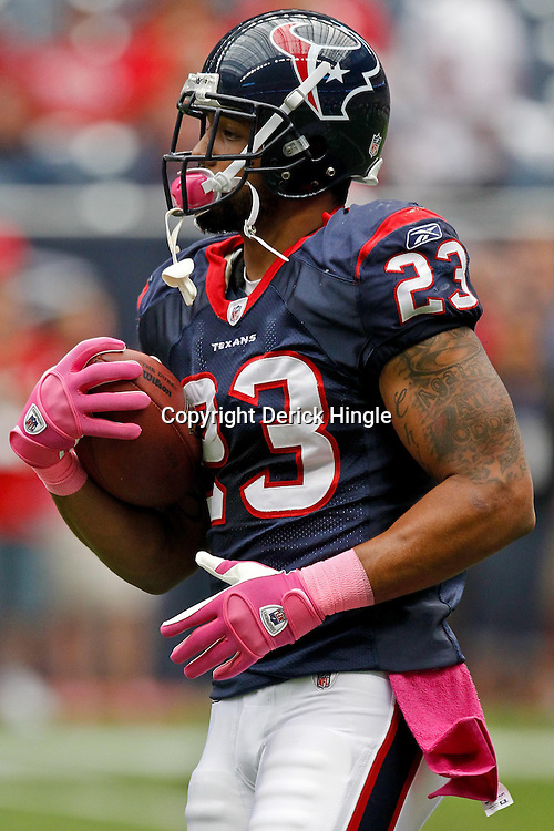 October 10, 2010; Houston, TX USA; Houston Texans running back Arian Foster (23) during warm ups prior to kickoff of a game against the New York Giants at Reliant Stadium. The Giants defeated the Texans 34-10. Mandatory Credit: Derick E. Hingle