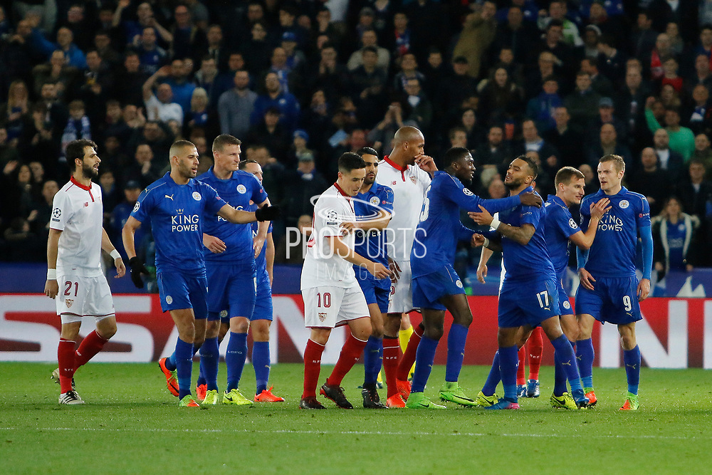 Sevilla midfielder Samir Nasri (10) is sent off, Leicester City Forward Jamie Vardy reacts to Sevilla midfielder Samir Nasri (10) during the Champions League round of 16, game 2 match between Leicester City and Sevilla at the King Power Stadium, Leicester, England on 14 March 2017. Photo by Richard Holmes.