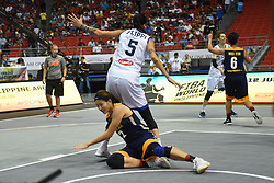 June 9, 2018 - Bulacan, Philippines - Ky Lie Hiew of Malaysia falls down during the match up between Italy and Malaysia for the FIBA 3x3 tournament held at the Philippine Arena in the province of Bulacan, north of Manila on 09 June 2018. (Credit Image: © George Calvelo/NurPhoto via ZUMA Press)