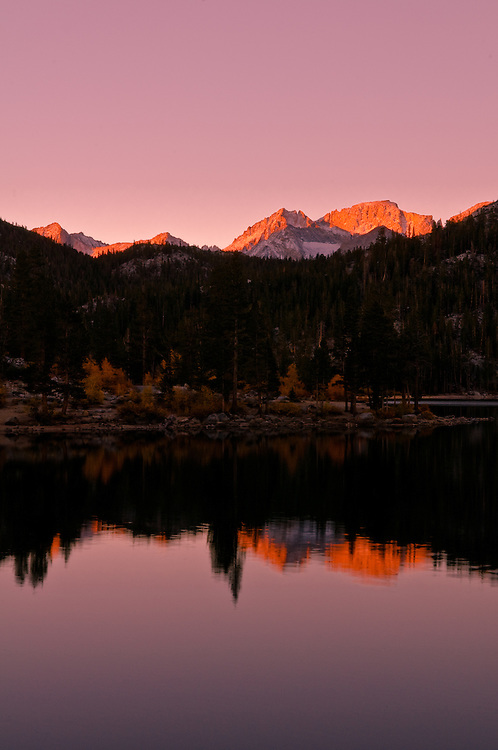 Sunrise over Rock Creek Lake near Toms Place, Calif., in the Eastern Sierra Nevada on Oct 8, 2008.