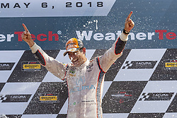 May 6, 2018 - Lexington, Ohio, United States of America - Hello Castroneves (BRA) is showered with champagne from his fellow racers after winning the Acura Sports Car Challenge at Mid Ohio Sports Car Course in Lexington, Ohio. (Credit Image: © Walter G Arce Sr Asp Inc/ASP via ZUMA Wire)