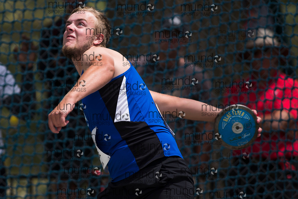 OTTAWA, ON -- 06 July 2018: Jacob Lalone throwing in the U20 discus at the 2018 Athletics Canada National Track and Field Championships held at the Terry Fox Athletics Facility in Ottawa, Canada. (Photo by Sean Burges / Mundo Sport Images).