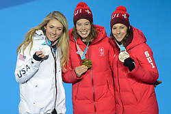 February 22, 2018 - Pyeongchang, South Korea - MIKAELA SHIFFRIN of the United States  (left)  , MICHELLE GISIN of Switzerland (center) and WENDY HOLDENER of Switzerland with their medals from the Ladies' Combined Alpine Slalom skiing event in the PyeongChang Olympic Games. (Credit Image: © Christopher Levy via ZUMA Wire)