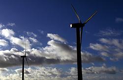 UK ENGLAND LAKE DISTRICT WORKINGTON NOV99 - Two wind-powered electricity generators stand erect in the autumn sky. ..jre/Photo by Jiri Rezac.© Jiri Rezac 1999.Tel: +44 (0) 7050 110 417.Email: info@jirirezac.com.Web: www.jirirezac.com