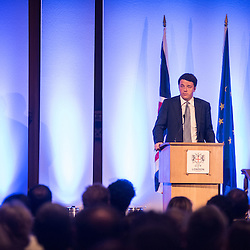 Foto Piero Cruciatti / LaPresse<br /> 02-10-2014 Londra, Gran Bretagna<br /> Politica<br /> Intervento del presidente del Consiglio Matteo Renzi presso la Guildhall <br /> Nella foto: Presidente del Consiglio dei Ministri, Matteo Renzi <br /> <br /> Photo Piero Cruciatti / LaPresse<br /> 02-10-2014 London, United Kingdom<br /> Politics<br /> Italian PM Matteo Renzi speaks at Guildhall <br /> In the photo: Italian Prime Minister, Matteo Renzi