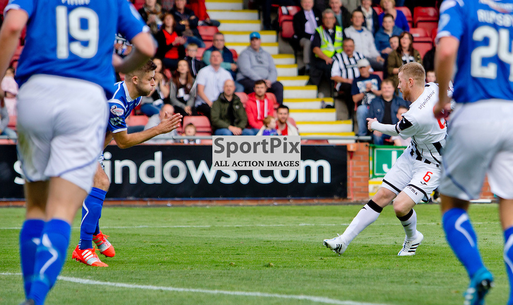 Dunfermline Athletic v Stranraer SPFL League One Season 2015/16 East End Park 29 August 2015<br /> Andy Geggan makes it 3-0<br /> CRAIG BROWN | sportPix.org.uk