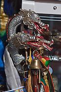 Mongolia. Ulaanbaatar. shamanic cane in the yurt of  Mme Tserendolgor,  master shaman  . Ulaan baatar