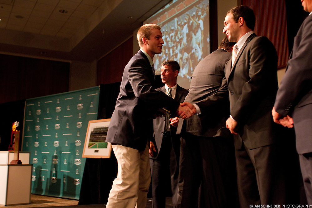 October 5, 2012; Baltimore, MD, USA; Charlie Toomey speaks Loyola Maryland Greyhounds Men's Lacrosse Team receives their 2012 National Championship rings in a ceremony on campus in Baltimore, MD. Mandatory Credit: Brian Schneider-www.ebrianschneider.com