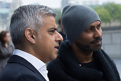 City Hall, London, May 19th 2016. PICTURED: Mayor of London Sadiq Khan watches the dancers with renowned choreographer Akram Khan.<br /> <br /> The Mayor of London Sadiq Khan joins internationally-celebrated choreographer Akram Khan and Londoners from across the capital as they do their warm-ups at City Hall for the international Big Dance Pledge.<br />  <br /> The preview of the performance ahead of the world-wide Big Dance event. On Friday 20 May, over 40,000 people in 43 countries around the world will take part in the dance, which has been specially choreographed by Akram Khan.