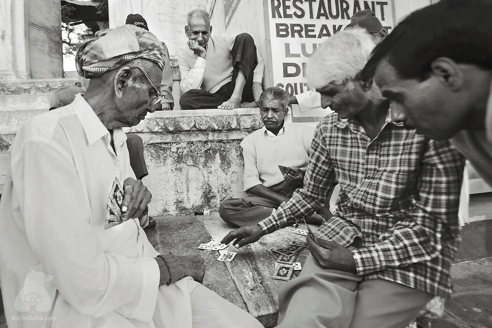 Men playing cards, Udaipur, Rajasthan, India.