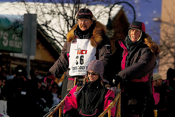04 March 2006: Anchorage, Alaska - Rick Swenson, 5 time winner of the Iditarod at the Ceremonial Start in downtown Anchorage of the 2006 Iditarod Sled Dog Race