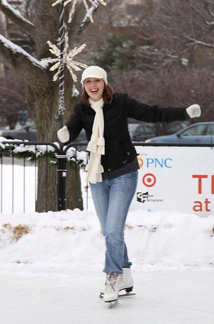 Ice skating at University Circle outdoor rink Cleveland, Ohio