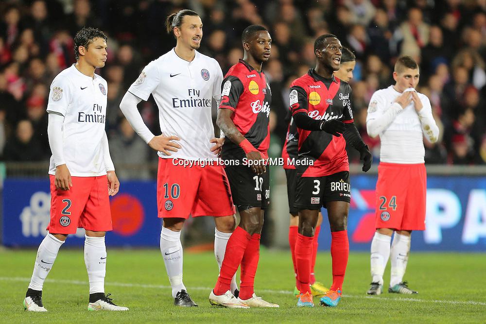 Thiago SILVA / Zlatan IBRAHIMOVIC - 14.12.2014 - Guingamp / Paris Saint Germain - 18eme journee de Ligue 1<br />Photo : Vincent Michel / Icon Sport