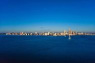 Vintage aerial Miami Skyline circa 1992