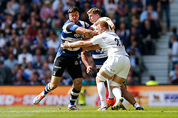 Bath Winger Matt Banahan is tackled by Saracens replacement Jackson Wray and Winger David Strettle - Photo mandatory by-line: Rogan Thomson/JMP - 07966 386802 - 30/05/2015 - SPORT - RUGBY UNION - London, England - Twickenham Stadium - Bath Rugby v Saracens - 2015 Aviva Premiership Final.