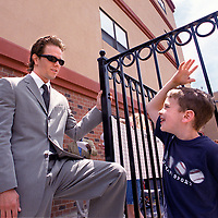 """""""RECONNECTING WITH THE PAST"""" LOCAL HERO/MOVIE ACTOR MARK WAHLBERG SPENDS SOME TIME WITH JAMES FURKART (A SON OF AN OLD FRIEND WHO HAD LUNCH WITH WAHLBERG AT SONSIE SATURDAY) FROM HIS OLD HANG OUT, THE DANIEL MARR BOYS AND GIRLS CLUB JUNE24'00 AT THE GRAND OPENING OF PAUL R. MCLAUGHLIN YOUTH CENTER IN DORCHESTER. (IN HONOR OF THE LATE (MURDERED) PROSECUTER MCLAUGHLIN. ACCORDING TO MANY SOURCES AT THE CLUB, WAHLBERG WAS THE LAST KID TO BE KICKED OUT OF THE CLUB."""