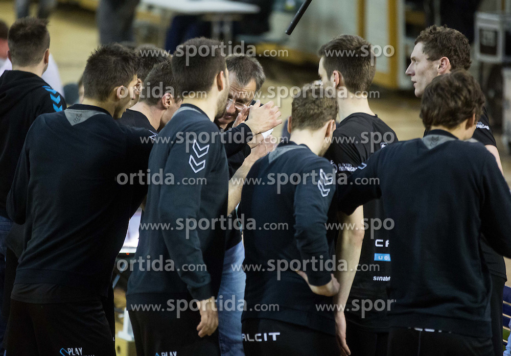 Marko Brumen, head coach of Calcit with players during volleyball match between ACH Volley and Calcit Volleyball in Round #3 of Finals of 1. DOL Slovenian Championship 2014/15, on April 19, 2015 in Hala Tivoli, Ljubljana, Slovenia.  Photo by Vid Ponikvar / Sportida