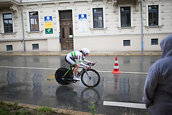 Grace Brown of Team Australia rides in the rain during the prologue of the Lotto Thuringen Ladies Tour - a 6.1 km individual time trial, starting and finishing in Gera on July 12, 2017, in Thuringen, Germany. (Photo by Balint Hamvas/Velofocus.com)