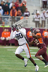 Virginia wide receiver Maurice Covington (80) looks in a pass.  The Virginia Tech Hokies defeated the Virginia Cavaliers 17-14 in NCAA football at Lane Stadium on the campus of Virginia Tech in Blacksburg, VA on November 29, 2008.