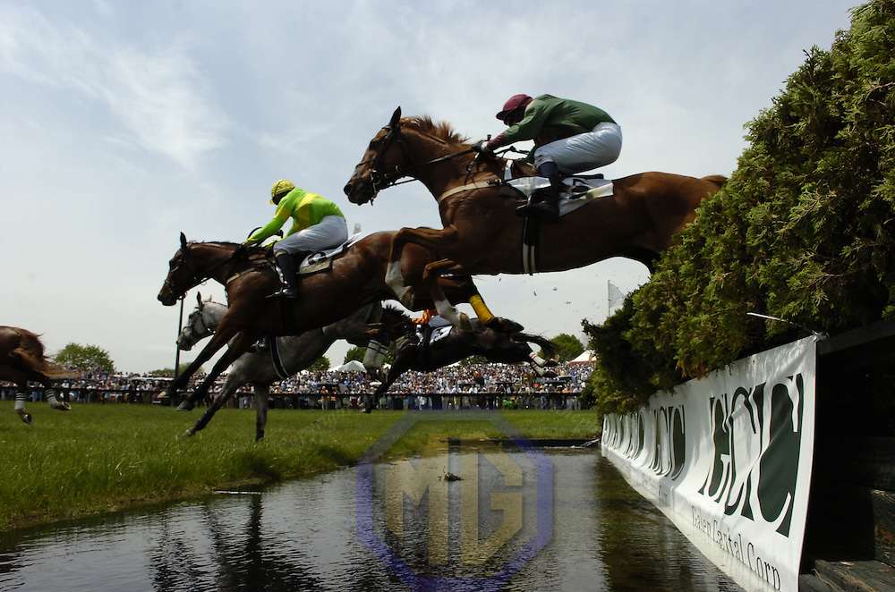 03 May 2008:  James Slater aboard Kilbreena (L) leads Te Akau Five with Jeff Murphy aboard over the water jump in the 2nd race in the 83rd running of the Virginia Gold Cup Races on October 20, 2007 at the Great Meadow in The Plains, Va..