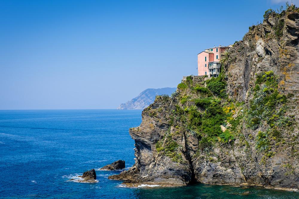 MANAROLA, ITALY - CIRCA MAY 2015:  View of sea cliffs  in the village of Manarola in Cinque Terre, Italy.