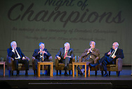 Lawrie Smith, Pat Liney, Craig Brown and Ian Ure listen as Alan Gilzean tells a championship season story - Dundee FC night of champions at the Whitehall Theatre, Dundee, Photo: David Young<br /> <br />  - &copy; David Young - www.davidyoungphoto.co.uk - email: davidyoungphoto@gmail.com
