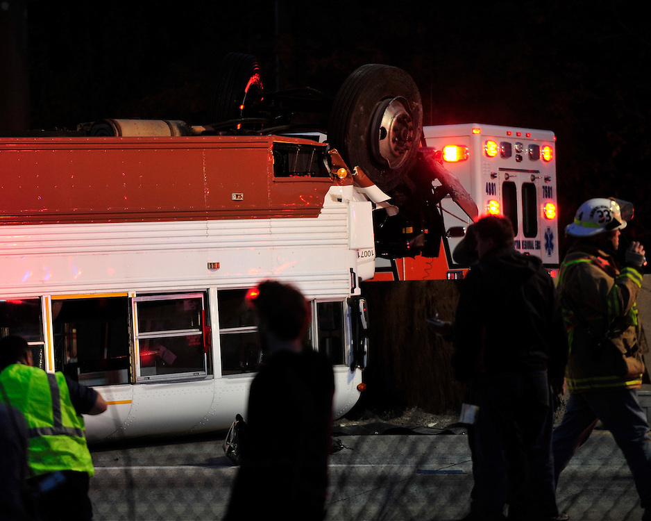 Emergency personnel work to free students trapped in a Lehigh University school bus on  October 27th, 2015, on Route 22 in Bethlehem, Pa. (Chris Post | lehighvalleylive.com)
