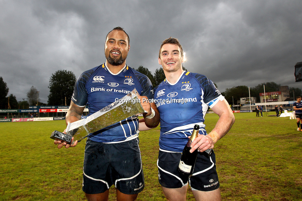 British &amp; Irish Cup Final, Donnybrook, Dublin 23/5/2014<br /> Leinster A vs Leeds Carnegie <br /> Leinster's Leo Auva'a and Andrew Boyle celebrate with the British &amp; Irish Cup<br /> Mandatory Credit &copy;INPHO/Ryan Byrne
