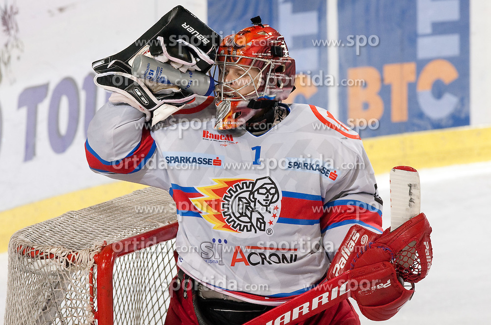 Goalkeeper of Jesenice Jaakko Suomalainen during ice-hockey match between HDD Tilia Olimpija and HK Acroni Jesenice in 26th Round of EBEL league, on December 10, 2010 at Hala Tivoli, Ljubljana, Slovenia.(Photo By Vid Ponikvar / Sportida.com)