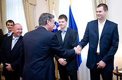 Danilo Turk and Uros Slokar of Slovenian basketball national team after Eurobasket 2009 at reception at president of Slovenia dr. Danilo Türk,  on September 28, 2009, in Presernova 8, Ljubljana, Slovenia.  (Photo by Vid Ponikvar / Sportida)