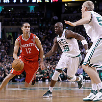 06 March 2012: Houston Rockets shooting guard Kevin Martin (12) drives past Boston Celtics small forward Mickael Pietrus (28) during the Boston Celtics 97-92 (OT) victory over the Houston Rockets at the TD Garden, Boston, Massachusetts, USA.