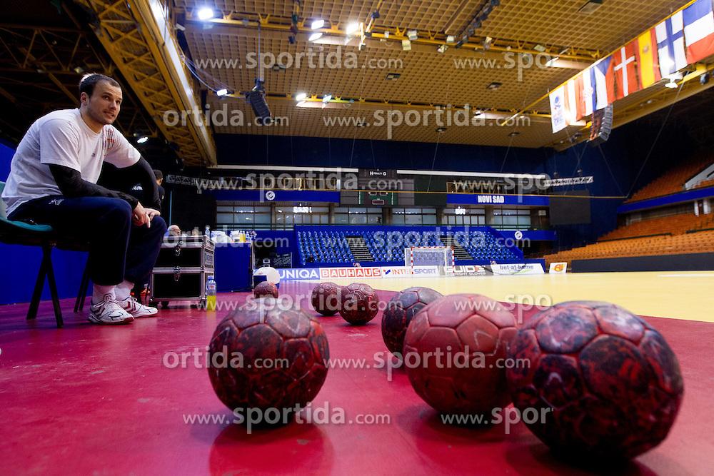 Uros Zorman of Slovenia during practice session of Slovenia National Handball team during Main Round of 10th EHF European Handball Championship Serbia 2012, on January 21, 2012 in Spens Sports Center, Novi Sad, Serbia. (Photo By Vid Ponikvar / Sportida.com)