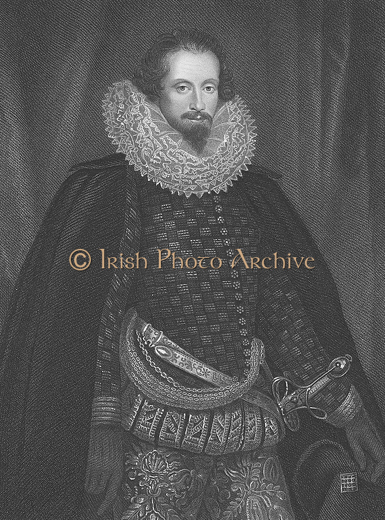 Robert Devereux, second Earl of Essex  (1566-1601) English courtier and soldier and favourite of Elizabeth I. Executed for high treason on 25 February 1601. Engraving after portrait by Nicholas Hilliard.