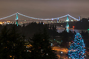 The Lions Gate Bridge and downtown Vancouver, British Columbia.