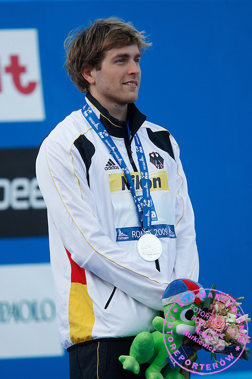 ROME 28/07/2009.13th Fina World Championships.Helge Meeuw of Germany poses with his silver medal after the men's 100m backstroke final at the World Championships in Rome.photo: Piotr Hawalej / WROFOTO