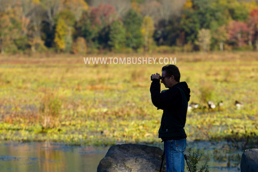 Mamakating - A man uses binoculars to watch birds at the Bashakill Wildlife Management Area on the morning of on Oct. 8, 2014.