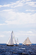 Goldeneye and Nellie sailing in the Indian Harbor Classic Yacht Regatta.