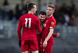 LIVERPOOL, ENGLAND - Monday, February 24, 2020: Liverpool's Joe Hardy (C) celebrates scoring the second goal with team-mates Liam Millar (L) and Tony Gallacher (R) during the Premier League Cup Group F match between Liverpool FC Under-23's and AFC Sunderland Under-23's at the Liverpool Academy. (Pic by David Rawcliffe/Propaganda)