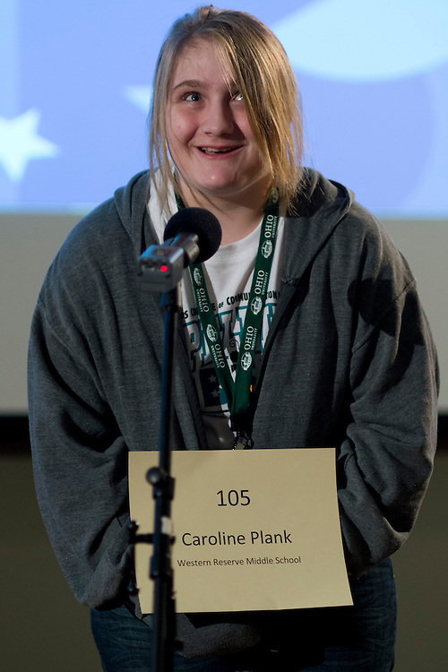 Caroline Plank or Western Reserve Middle School introduces herself during the Southeastern Ohio Regional Spelling Bee Regional Saturday, March 16, 2013. The Regional Spelling Bee was sponsored by Ohio University's Scripps College of Communication and held in Margaret M. Walter Hall on OU's main campus.