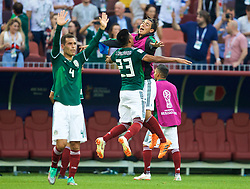 MOSCOW, RUSSIA - Sunday, June 17, 2018: Mexico's Mexico's Jesus Gallardo celebrates with substitute Mexico's Erick Gutierrez after beating Germany 1-0 during the FIFA World Cup Russia 2018 Group F match between Germany and Mexico at the Luzhniki Stadium. (Pic by David Rawcliffe/Propaganda)